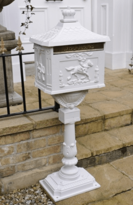 white floorstanding victorian postbox
